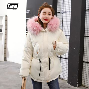 Fitaylor Faux Fur Collar Short Parkas Cotton Padded Jacket Winter Jacket Women thick Snow Hooded Coat Parka Mujer