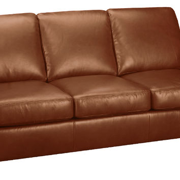 Plaza Leather Sleeper Sofa Queen Bed with Pocket-Coils