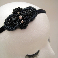1920s inspired flapper headband art deco Boardwalk Empire Downton Abbey Lady Mary black beaded rhinestone fascinator headpiece