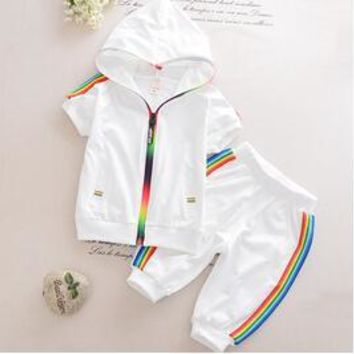 Colorful Zipper Hooded Clothing For Girls