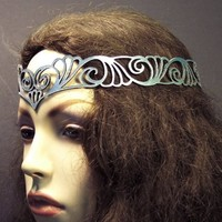 Nouveau Deco leather head wreath in silver by TomBanwell on Etsy