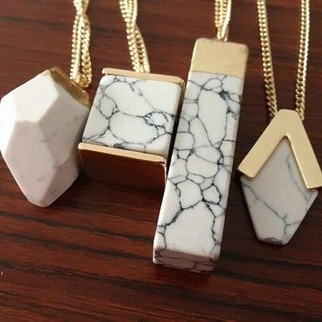 2017 Summer Style Hot Trendy Brand Design Fashion Geometric White Marble Faux Stone Pendant Necklace for Women