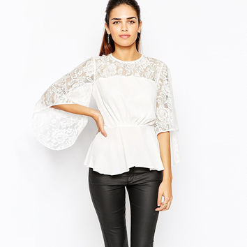 Sheer Mesh Lace Horn Sleeves Waist  Chiffon Top