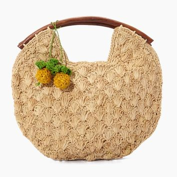 Isla Crocheted Raffia Clutch W/ Wooden Handles And Pineapple Charms - Natural