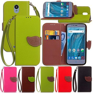For ZTE Blade A310 A610 Plus Luxury Leather Cover Flip Wallet Phone Case With Leaves Buckle And Lanyard Mobile Phone Shell