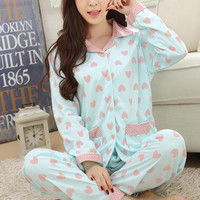 Plus Size Women Pajama Sets New Autumn Long Sleeve Lape Lovely Heart Print Homewear Cotton Comfy Sleepwear M-3XL