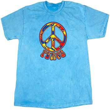 Peace T-shirt Funky Peace Sign Mineral Washed Tie Dye Tee