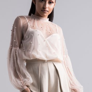 AKIRA Sheer Long Puff Sleeve Blouse With Pearl Detail in Beige