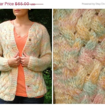 20% OFF SALE 1960's BENATTI Pastel Wool Woven Knit Sweater. Cardigan. Handmade. Rainbow. Made in Italy. Size 36. Medium M