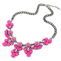 Tonsee 1pc Vintage Flower Crystal Bubble Bib Choker Statement Women Necklace (Hot Pink)