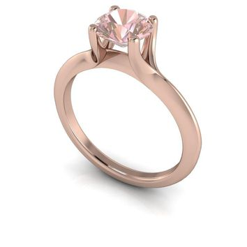 14 kt Gold Round Morganite Solitaire Engagement Ring 1.00 ctw