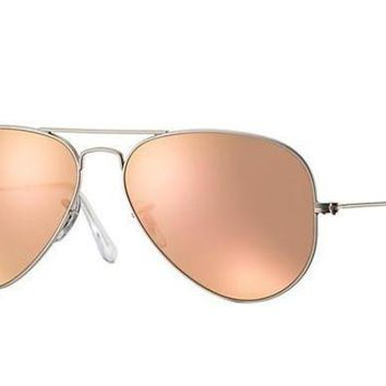 UCANUJ3V Ray Ban Aviator Sunglass Matte Silver Rose Gold Mirrored RB 3025 019/Z2