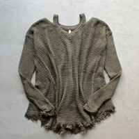 oversize thermal sweater with cold shoulder - olive