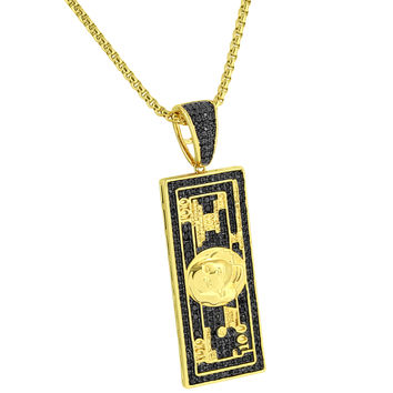 "100 Dollar Bill Pendant Black Simulated Diamonds 14k Gold Finish 24"" Chain Mens"