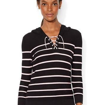 Lauren Ralph Lauren Striped Lace Up Hoodie