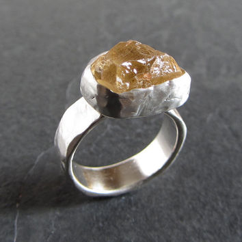 Sterling silver and raw citrine ring // raw gemstone ring / statement ring / unique ring / rustic ring / rough ring / rough citrine ring