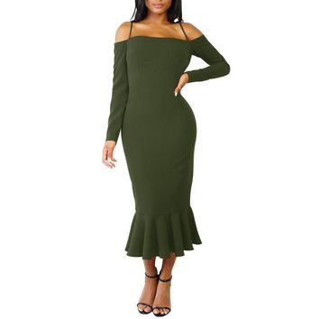 Chicloth Sleeves Off Shoulder Spaghetti Strap Party Midi Dress Mermaid Dress Long