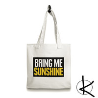 Bring me sunshine Natural Canvas Tote Bag, Shopping Bag, Library Bag, Beach Bag, Book Bag