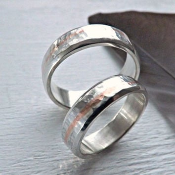 Silver copper wedding rings - rustic wedding ring set - silver ring with copper inlay - hammered silver rings - 6mm and 5mm wide