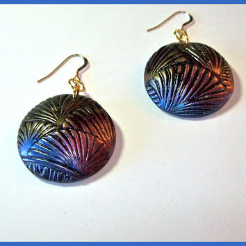 Earrings Polymer Clay Rose Gold Blue Pattern Dangle  1 1/4 in. 14K Gold Filled Earwires Metallic Finish Handmade