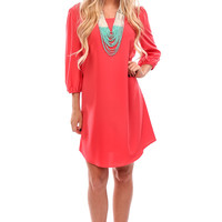 Coral Round Neck Shift Dress