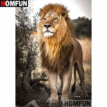 5D Diamond Painting Lion in the Brush Kit