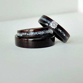 Engagement ring with matching wedding bands Ebony wood with mother of pearl inlay