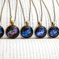 Hand Painted Outer Space Nebula Pendant Necklace - Brass and Silver- Gifts Under 25