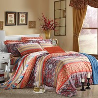 Orange Blue and Purple Bohemian Chic Southwestern Design 100% Luxury Egyptian Cotton Full, Queen Size Bedding Duvet Cover Sets - EnjoyBedding.com
