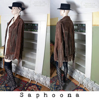 Vintage 60's 70's genuine suede coat jacket with long fringe, brown suede jacket, brown leather jacket, western, southwestern Mexican