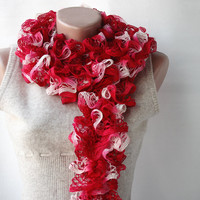 Red Knit Scarf Carmine Red Winter Accessories Romantic Gift | Luulla