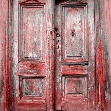 Red Vintage Doors Photography Backdrop 8x8 - WITH GROMMETS -LCPC9138 - LAST CALL
