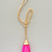 Hot Pink Polished Quartz Necklace