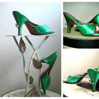 Green Satin 50s Vintage Sandals Springolator Style Slides with High Heels and Jewels Size 7 As Is
