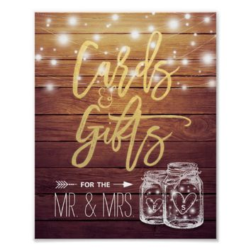 Cards & Gifts Wedding Sign Rustic Wood Mason Jar