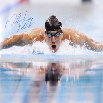 Michael Phelps Autographed 16'' x 20'' Swimming Photograph - http://www.shareasale.com/m-pr.cfm?merchantID=7124&userID=1042934&productID=555873261 / USA