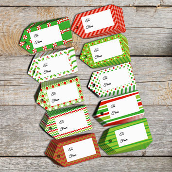 Printable Christmas tags for your friends and family gifts in red, green, black and white. Holiday themed gift tags instant download.
