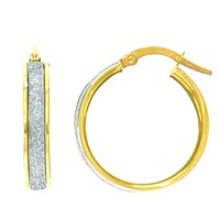 14k Gold Glitter Hoop Earrings, Diameter 20mm