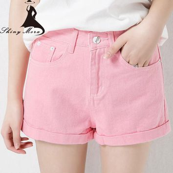 Hot sale 2017 Newest Women's Summer Hot shorts Jeans Candy Color Girl High Waist Fashion Casual Shorts Female Plus Size S-5XL