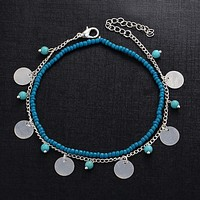 Hot pin accessories Bohemian blue turquoise beads beaded beads beaded combination of anklets