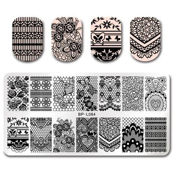 BORN PRETTY Nail Rectangle Stamping Template Cartoon Unicorn Floral Lace Butterfly Elegant Swan Manicure Nail Art Image Plate