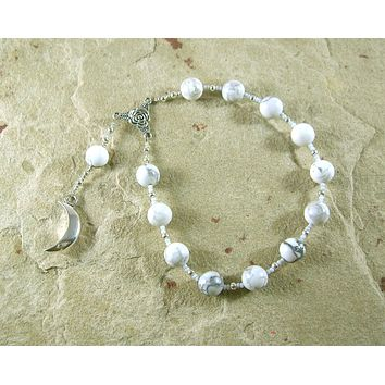 Selene Pocket Prayer Beads in Howlite: Greek Goddess of the Moon