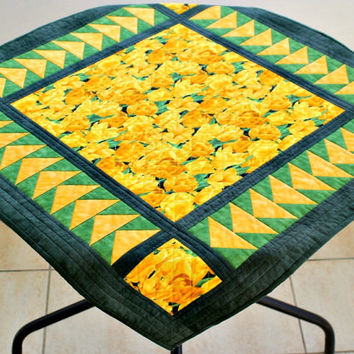 Spring Quilted Table Topper, Wall Hanging, Yellow Tulips, Table Runner, Easter Tablecloth, Quiltsy Handmade