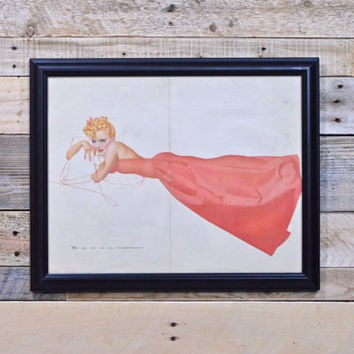 Original Pinup Girl Art, Petty For Esquire, Vintage Petty Girl