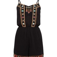 Black Embroidered Strappy Playsuit