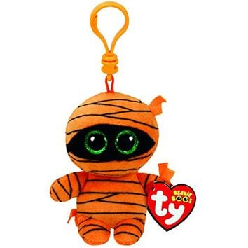 "Ty Beanie Boos 4"" 10cm Mask the Exclusive Halloween Mummy Clip Keychain Plush Stuffed Animal Collectible Doll Toy"