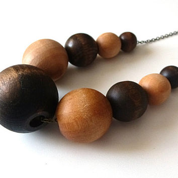Graduated stained wood bead necklace, natural jewelry, multicolored necklace, boho necklace, bohemian jewelry