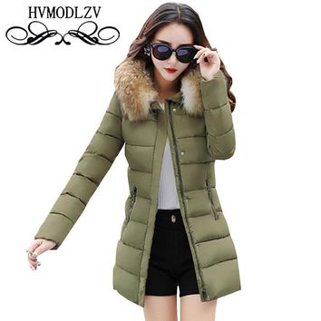 Winter Women's Removable Wool Collar Cotton Jacket 2017 New Hood Was Thin Thick Warm Fashion Women Padded Overcoat ls395