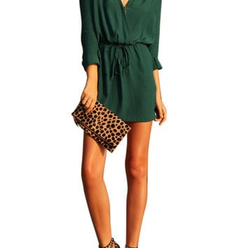 Green V Neck Drawstring Dress With Pocket