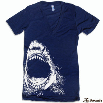 Unisex SHARK Deep V Neck T Shirt american apparel XS S M L XL (10 Colors Available)